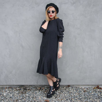 80s Does 20s Flapper Polka Dot Dress