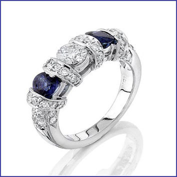 Gregorio 18K White Gold Diamond and Sapphire Wedding Band R-1833B
