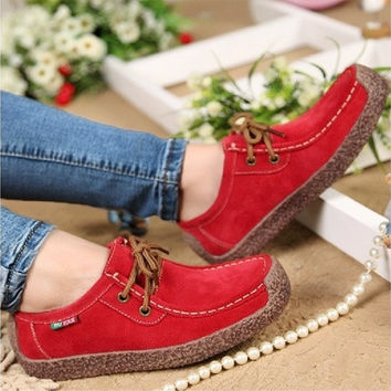 2016 spring women genuine leather shoes woman Hand-sewn suede leather flats cowhide flexible boat shoes women loafer plus size [8833486348]