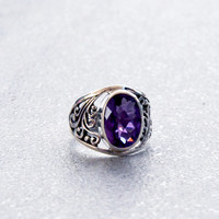 Sterling Silver Genuine Amethyst Gemstone Filigree Bali Style Statement Ring