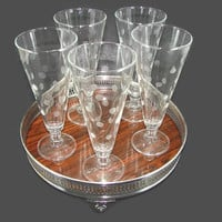 5 Etched Dot Glass Pilsners on Sheffield Silver Formica Claw Foot Tray Frosted Coin Dot Crystal Stemware Glasses Barware