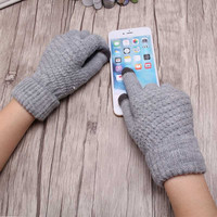 Hot Selling New Women Warm Winter Knitted Full Finger Gloves Mittens Girl Female Solid Woolen Gloves Touch Screen Luvas