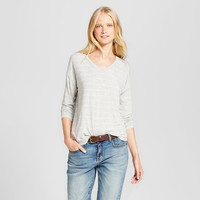 Women's Softest Long Sleeve V-Neck T-Shirt - Mossimo Supply Co.™ Gray and Silver Stripe
