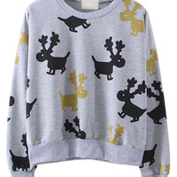 Gray Deer Printed Sweatshirt