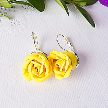 Handmade floral earrings, rose earrings, yellow rose earrings, wedding jewelry, gifts