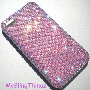 Exquisite Tiny 9ss Iridescent Pink Light Rose AB Crystal Diamond Rhinestone BLING Back Case for iPhone 4 4S made with Swarovski Elements