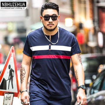 NBHUZEHUA Striped Printed T-shirt Men 2017 Summer Short Sleeve Mens Clothing Oversize Cotton Male T Shirt xxxxl 5xl 6XL 1950