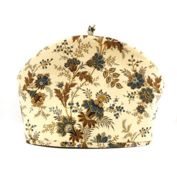 Victorian Elegance Tea Cozy, Gold-Teal-Brown, Dome Shape Fabric Teapot Cozy, Fits 6 to 8 Cup Size Tea Pot, Tea Cosy, RedLeafStitchCraft