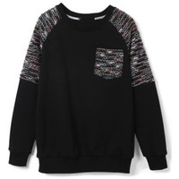 Black Long Sleeve Contrast Shoulder Pocket Sweatshirt - Sheinside.com
