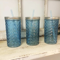 Blue Tinted Quilted Design Mason Jar Drinking Glass with Lid and Straw