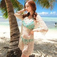 Woman Sexy Summer Beach Dress Swimwear Bikini Cover Up Lace Crochet Dress Shirt