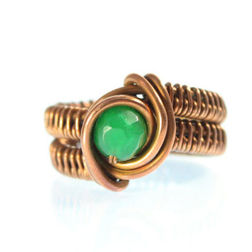 Green Jade Marquise Copper Ring, Size 7, Eye Ring, Wrapped, Wide Band, Woven, Medium Size, One of a Kind, Dragon Eye, Men's, Women's, Unisex