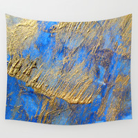 Blue and Gold Wall Tapestry by Haroulita   Society6