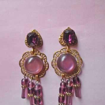 Amethyst Color Chandelier Dangle Earrings - OOAK Art Nouveau Style - Made with Vintage - Post Back