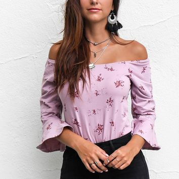 Pretty Please Mauve Floral Print Bodysuit