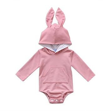 Cute Newborn Baby Girl Boys Clothing Hooded Bodysuits Long Sleeve Cute Cotton Warm Outfits Bodysuit Baby Girls