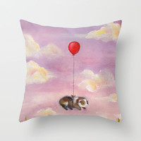 Balloon Ride - Guinea Pig With Balloon Throw Pillow by When Guinea Pigs Fly | Society6