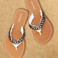 Sandals White Flat Flip flop with Chain - Chynna Dolls