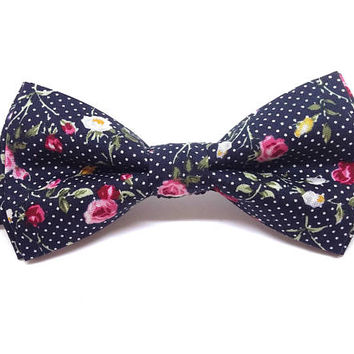 Bow Tie - black floral - mens bow tie - gifts for him - wedding bow tie - black tie with pink flowers