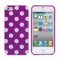 BONAMART ® Purple TPU Polka Dot Rubber Skin Case Cover for New Apple iPhone 5 5G 5th