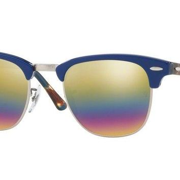 Ray Ban Clubmaster Sunglasses - RB3016 1223C4 49 - Blue w/ Rainbow Flash Mirror
