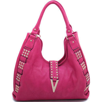 Women's Rhinestone Fashion Hobo Bag w/ Gold Studs & Gold Chevron Accent - Fuchsia Color: Fuchsia