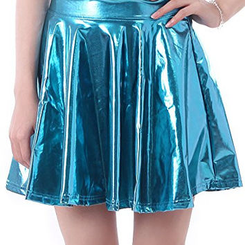 HDE Women's Solid Color Metallic Flared Pleated Club Skater Skirt (Teal, Small)