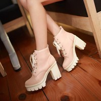 Lace Up Ankle High Heel Boots