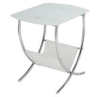 White Frosted Side Table and Magazine Holder