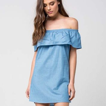 LOVE FIRE Off The Shoulder Chambray Dress | Short Dresses