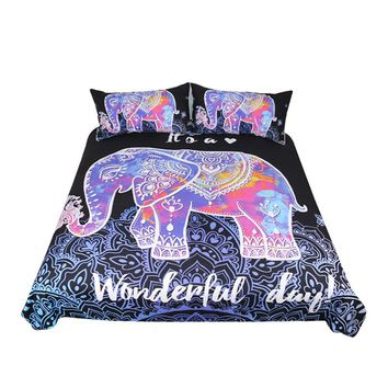 BeddingOutlet Colorful Elephant Bedding Set Queen Size Bohemian Duvet Cover Mandala Bed Set Animal Print Black Bedclothes 3pcs
