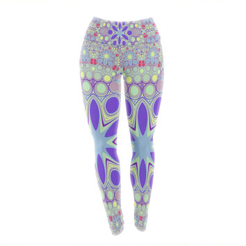 "Alison Coxon ""Hippy Flowers"" Lavender Kaleidoscope Yoga Leggings"