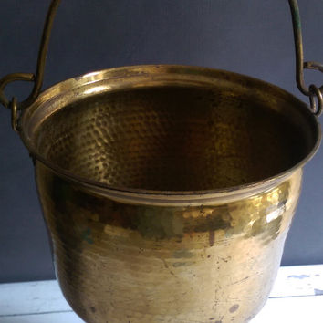 Large Hanging Planter/ Vintage Brass Planter/ Brass Cauldron/ Antique Brass Hanging pot