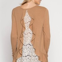 Lace Back Ruffle Sweater - Camel