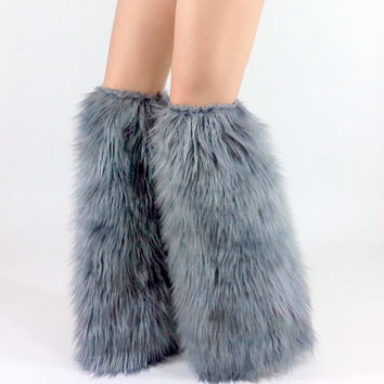 Gray Boot Covers *above-the-knee* FREE SHIPPING: Grey Furry Leg Warmers, Rave Fluffies, Legwarmers Fur Boot Covers Gray Fuzzies Wolf
