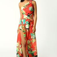 Maggie One Shoulder Printed Slinky Maxi Dress