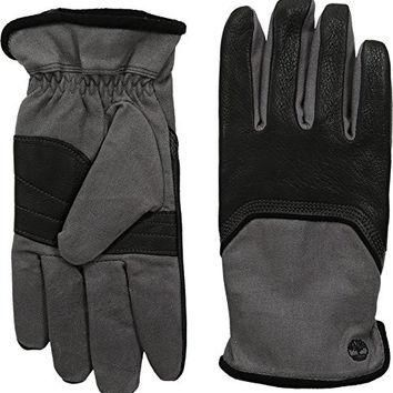 Timberland Men's GL360033 Waxed Canvas Deerskin Black Gloves XL