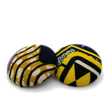 African Fabric Button Earrings // Purple and Yellow Earrings // Gifts under 25 // Hypoallergenic Jewellery