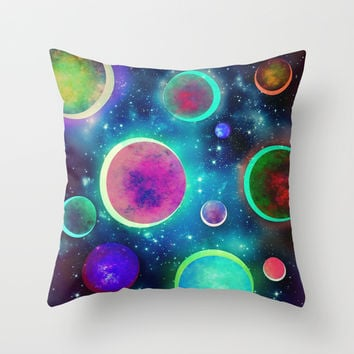 Festive Planets Throw Pillow by SensualPatterns