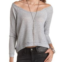 Oversized Cropped Sweatshirt by Charlotte Russe - Heather Gray