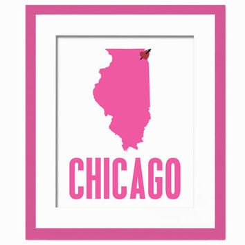 My Heart Belongs in Chicago - Geography City Poster - Art Print - 8 x 10 Wall Decor