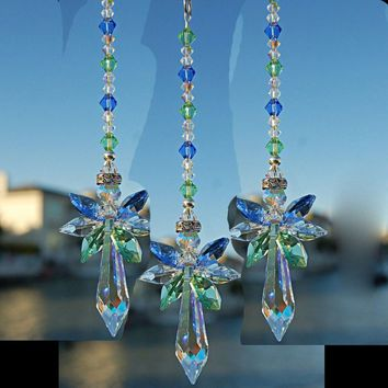 3PC Crystal Suncatcher Car Charm Crystal Ornament Guardian Angel Car Rearview Mirror Charm