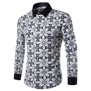 New Print Design Slim Fit Dress Shirt