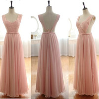 Blush Pink Peach Chiffon Wedding Dress Bridesmaid by wonderxue