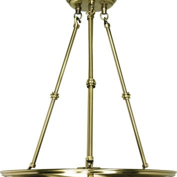 Small Hanging Pendant Light Fixture in Antique Brass Finish