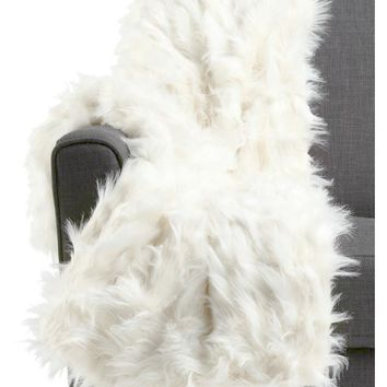 Celebrity Home Luxe Faux Mohair White Fur Throw