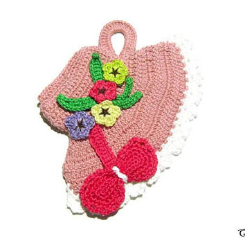 Crochet hat potholder with flowers, Handmade potholder, Colorful potholder, Presina cappello con fiori ad uncinetto