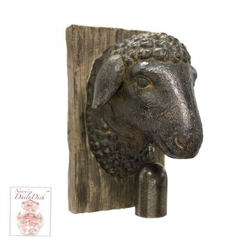English Country Sheep Lamb Head w/ Bell on Faux Bois Wooden Plaque Wall Hanging