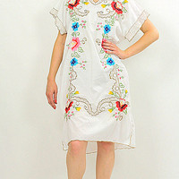 Vintage 70s Mexican Embroidered butterfly Oaxacan dress