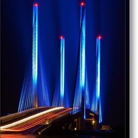 Red White And Blue Indian River Inlet Bridge Canvas Print